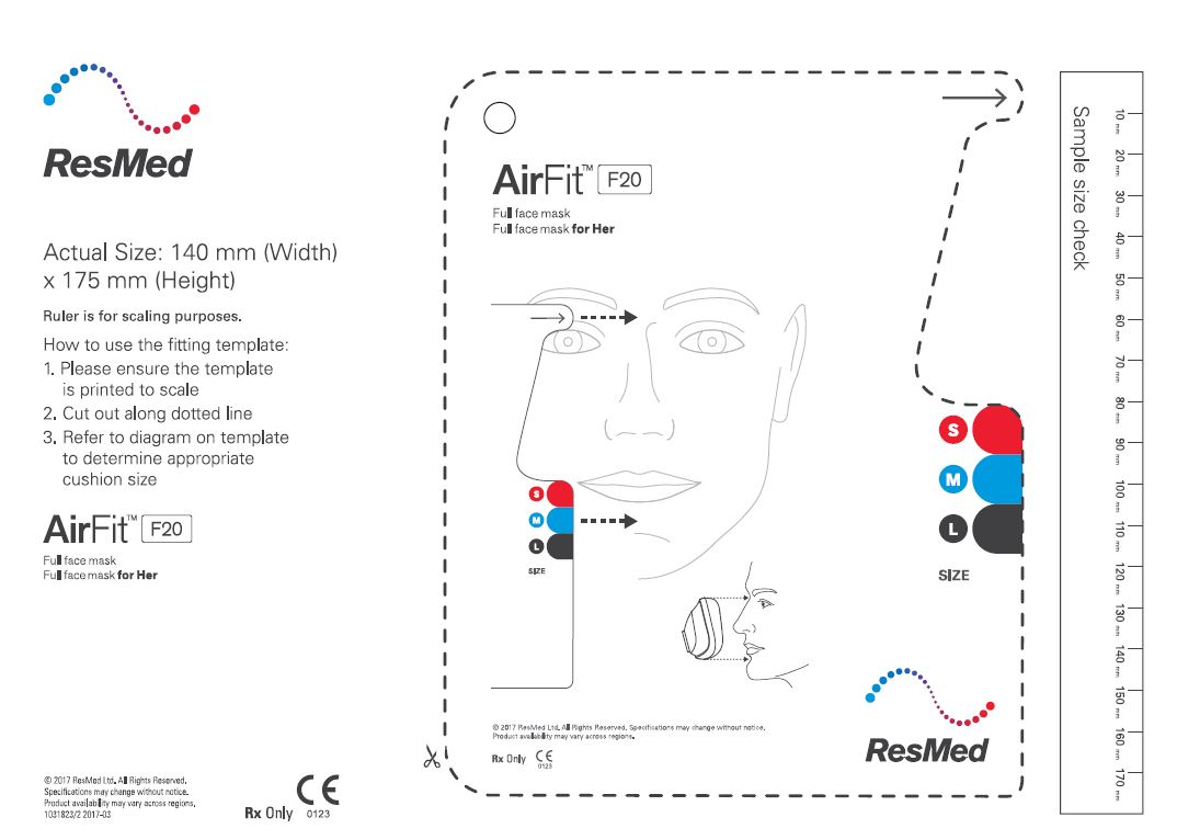 Mask fitting template for AirFit F20 full face mask