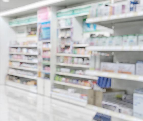 Pharmacy medications on shelf